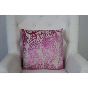 Corinna - Pink Grey Paisley Pillow
