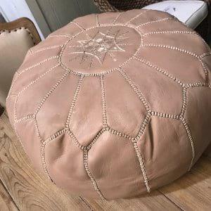 Priya - Leather Blush Pouf