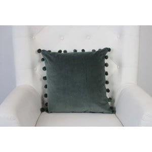 Delta - Pom Pom Green Velvet Pillow