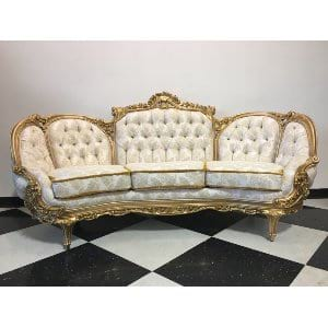 Aribella - White Gold Sofa