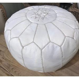 Suri - Leather White Pouf