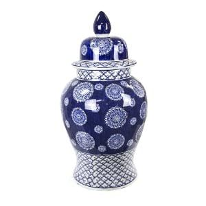Hilda - Blue White Ceramic Urn