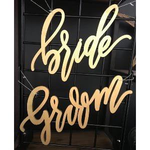 Bride & Groom Gold Script Sign