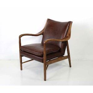 Rosalynn - Brown Leather Wood Lounge Chair