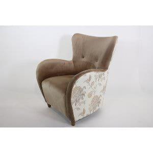 Violet - Beige Velvet Floral Lounge Chair
