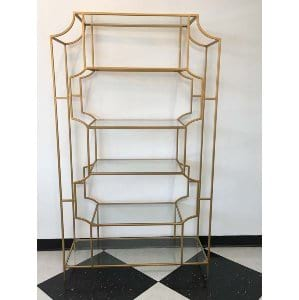 Lorraine Etagere  - Gold Glass + Metal