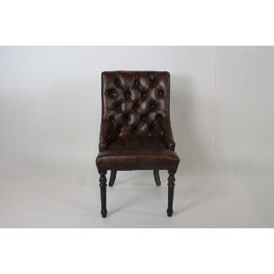 Sara - Brown Leather Tufted Chair