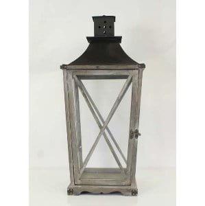 Laverne - Grey Wood Metal Lantern