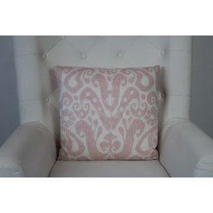 Farrah - Pink White Ikat Pillow