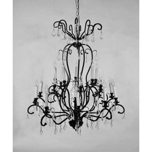 Tabitha - Black Iron Crystal Chandelier Large