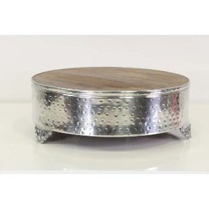 Gabby - Wood Silver Cake Stand Medium