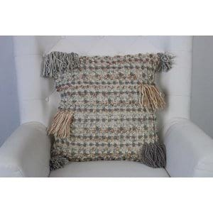 Embry - Grey Ivory Peach Woven Pillow