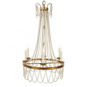 Decor rental categories petal oak award winning florists amalia gold white beaded chandelier aloadofball Choice Image