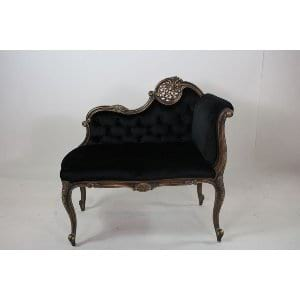 Roberta - Black Velvet Antiqued Settee