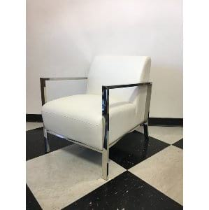 Nelly - White Leather  Lounge Chair
