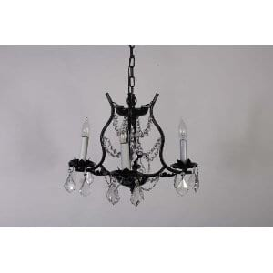 Thelma - Small Black Iron & Crystal Chandelier