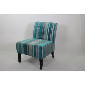 ... Pheobe   Turquoise Grey Stripe Slipper Chair
