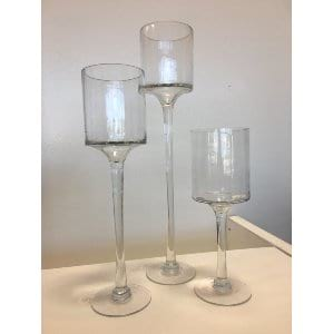 Anita - Clear Tiered Vase Trio