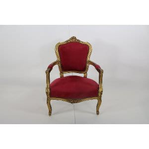 Cara - Gold Red Velvet Chair