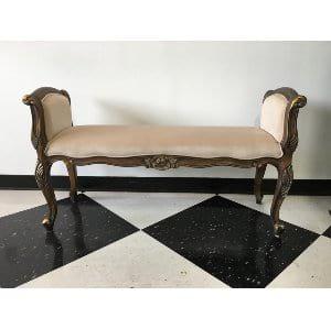 Isla - Beige Velvet Vintage Bench