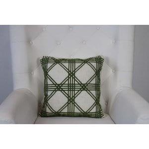 Delaney - Green Beige Crosshatch Pillow