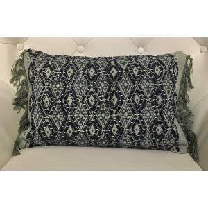Blanche - Navy, Teal, Sky Blue Tassels Pillow