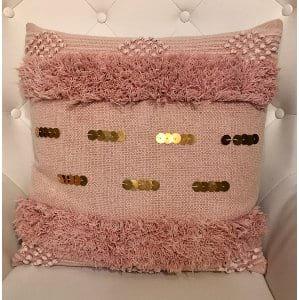 Farrah - Pink Fringe Gold Sequin Pillow