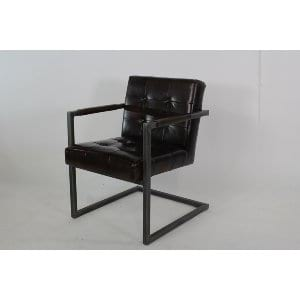 Talia - Dark Brown Leather Iron Lounge Chair