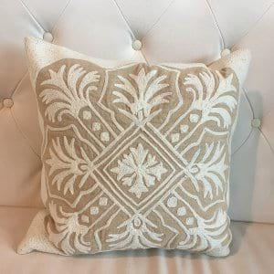 Elsie - Natural/White Embroidered Pillow