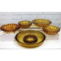 Retro Amber Glass Ashtrays