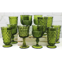 Assorted Green Goblets