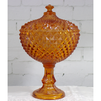 Sawtooth Amber Lidded Compote