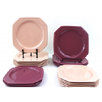 Rose and Maroon Square Luncheon Plates