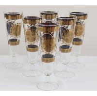 Gold Crest Pattern Pilsner Glasses