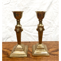 Brass Candleticks Pair with Lion Heads