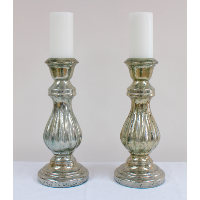 Large Pair Mercury Glass Candlesticks