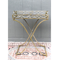 Lydia Mirrored Tray on Gold Stand