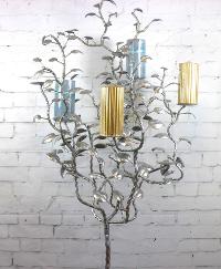 6' Tall Silver Metal Tree Candelabra