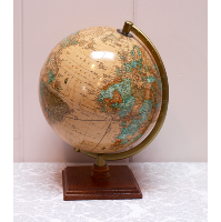 Small Tan Globe With Wooden Base