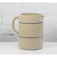 Stoneware Pitcher w/Handle and Blue Stripe