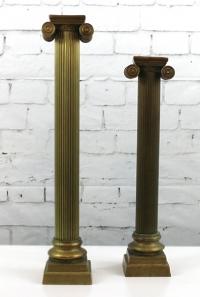 Tall Brass Column Candleholders