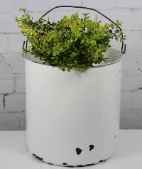 White Enamelware Bucket w/wire Handle