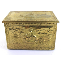 Gold Metal and Wooden Treasure Chest