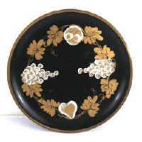 Black Metal Tray with Gold and White Details