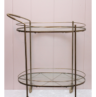 Two Tiered Oval Brass and Glass Tea Cart