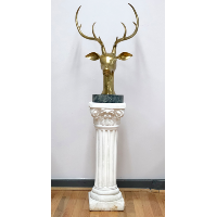 Large Brass Deer Head on White Pedestral
