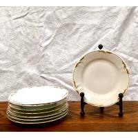Vintage Gold & White Dessert Plates