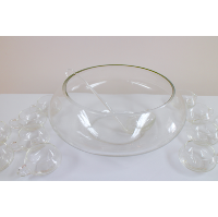 Clear Retro Punch Bowl With Ladle and 12 Cups