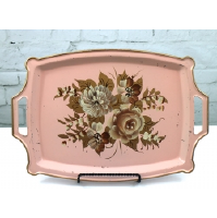 Shabby Chic Pink Metal Tray