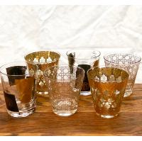Vintage Gold & Black Patterned Rocks Glasses